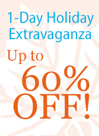 1-Day Holiday Extravaganza Up to 60% OFF!