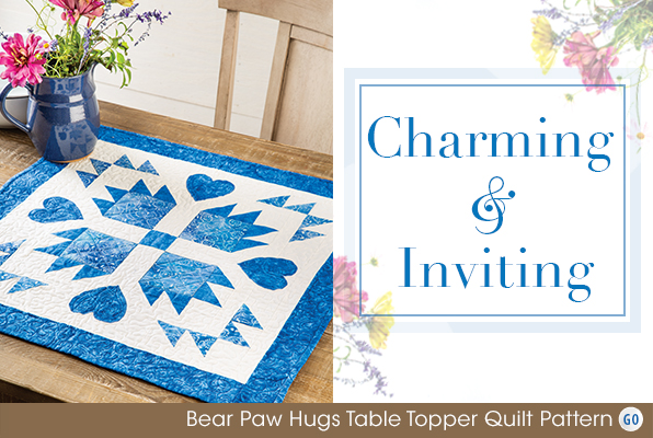 Bear Paw Hugs Table Topper Quilt Pattern