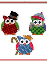 christmas owl trio