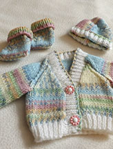 Easy Baby Cardigan, Hat and Booties