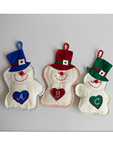 Happy Snowmen Felt Ornaments