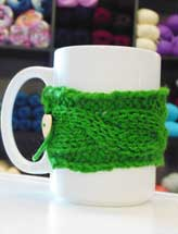 Knit Cabled Coffee Cozy