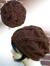 Cabled Flower Slouch Hat