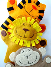 Lion, Monkey & Tiger Felt Hand Puppets