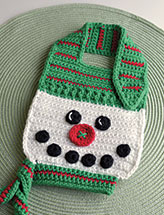 Button Nose Snowman Baby Bib