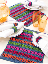 Chain-Link Stripes Place Mat & Napkin Rings