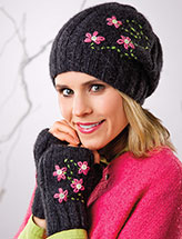 Hint of Pink Slouch Hat & Fingerless Mitts