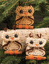 Cinnamon Branch Owl Ornament Crochet Pattern