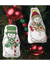 Snowmen in Hats Ornaments Cross-Stitch Pattern