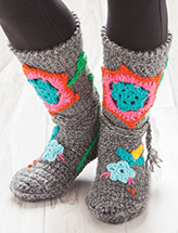 ANNIE'S SIGNATURE DESIGNS: Patchwork Booties for Adults Crochet Pattern