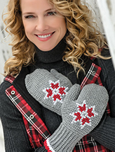 Embroidered Tunisian Mittens Crochet Pattern