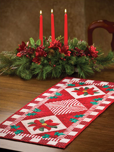 Poinsettia & Holly Runner Quilt Pattern