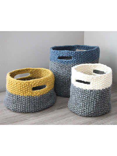 ANNIE'S SIGNATURE DESIGNS: Triplet Baskets Knit Pattern