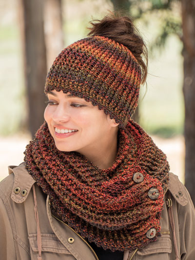 ANNIE'S SIGNATURE DESIGNS: Estelita Messy Bun Hat & Cowl Crochet Pattern