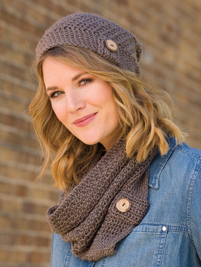 Button Up Slouchy Hat & Cowl Crochet Pattern