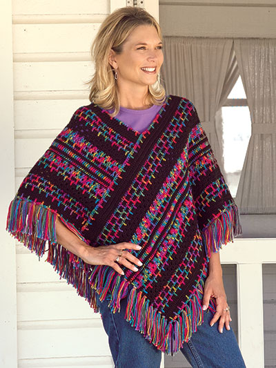Embroidery Print Poncho Crochet Pattern