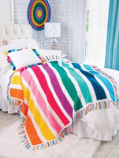 Boho Stripes Blanket & Tassel Pillow Crochet Pattern