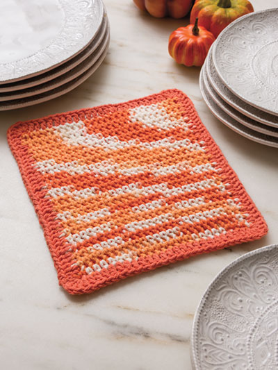 Colorful Waffle Weave Dishcloth Crochet Pattern