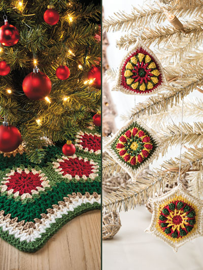 Granny Ripple Tree Skirt Ornaments Crochet Pattern