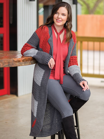 Modern Stripe Top-Down Cardi Crochet Pattern
