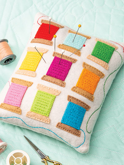 Thread Spools Pincushion Sewing Quilt Pattern