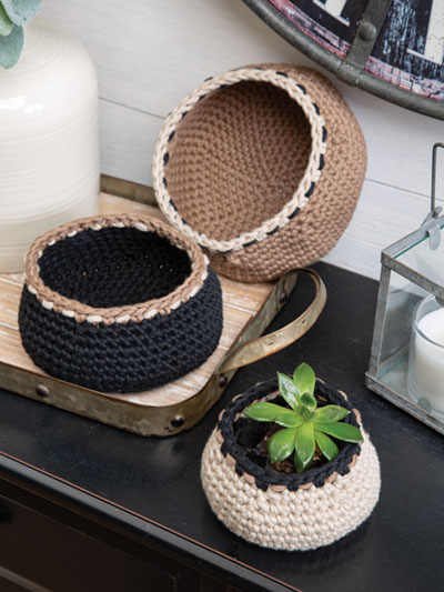 Woven Stitch Basket Set Crochet Pattern