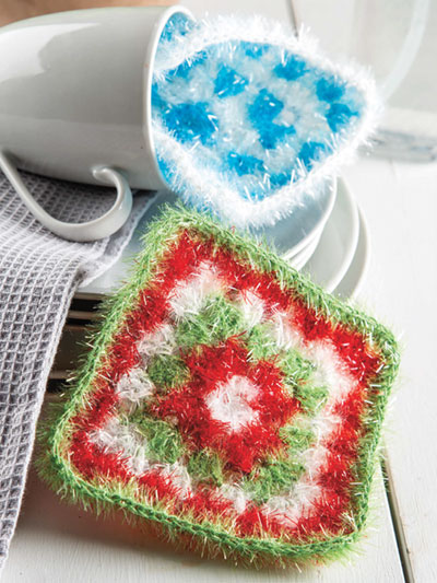 Granny Square Scrubbies Crochet Pattern