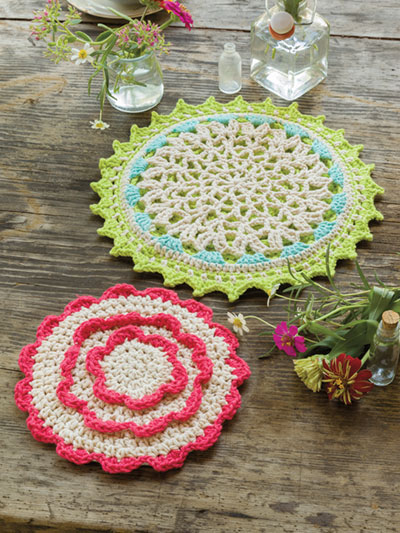 Garden Party Hot Pads Crochet Pattern