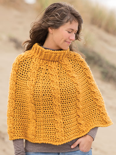 Textured Cable Poncho Crochet Pattern