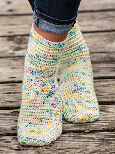 Corded Ridge Socks Crochet Pattern