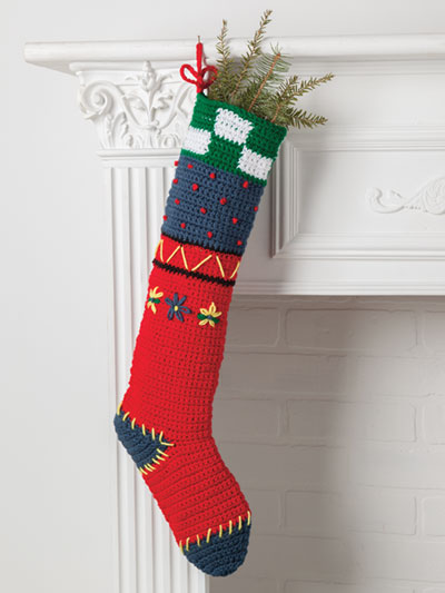 Folk Art Stocking Crochet Pattern