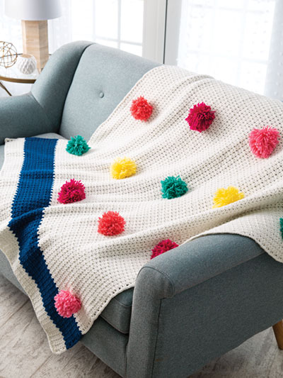 Pompom Throw Crochet Pattern
