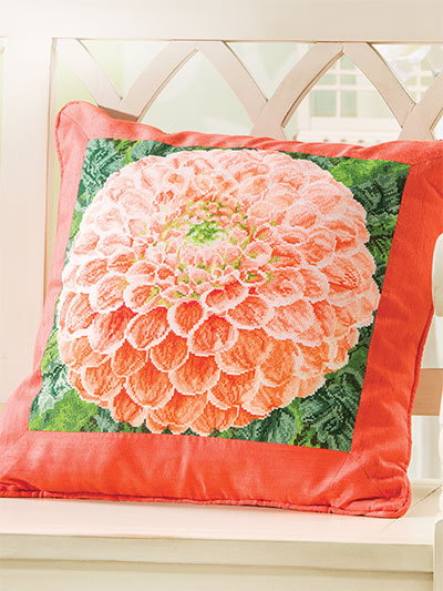 Dahlia Pillow Cross Stitch Pattern