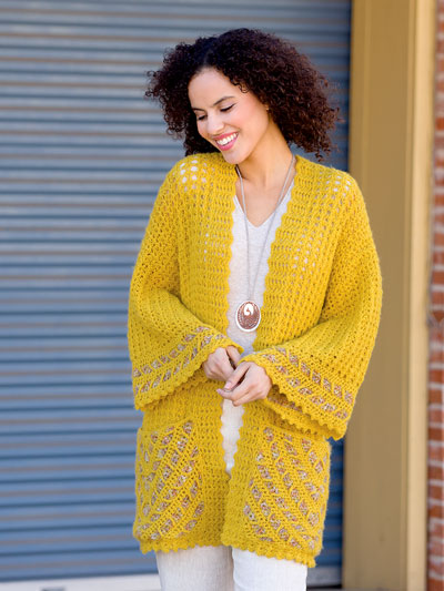 Date Night Autumn Gold Cardi Crochet Pattern