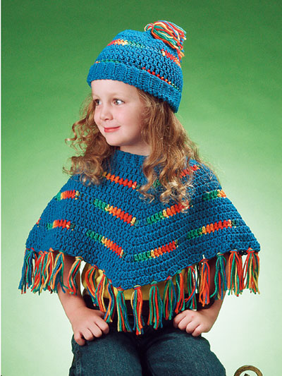 Blue & Variegated Poncho & Hat Crochet Pattern