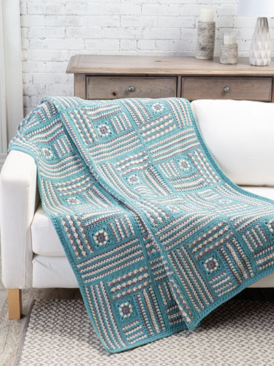Textured Blocks Throw Crochet Pattern