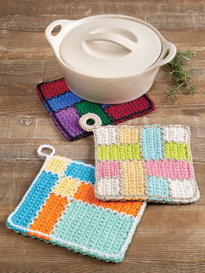 Quilted Pot Holder Set Crochet Pattern