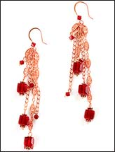 Red & Gold Dangle Earrings