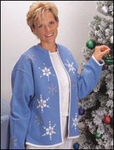 Glistening Snowflake Sweatshirt Cardigan