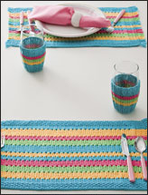 Cabana Striped Place Mats & Glass Cozies