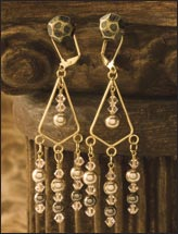 Warm Bronze Pearl Chandelier Earrings