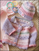 Girl's Striped Hat & Sweater
