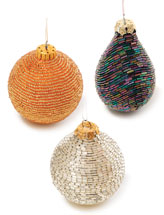Bead-Covered Glass Ornaments