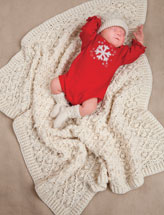 Aran Baby Blanket, Hat & Booties