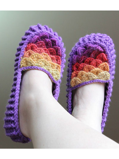 Free Crochet Patterns For Young Adults : Crochet - Crochet Clothing - Slippers - Crocodile Stitch ...