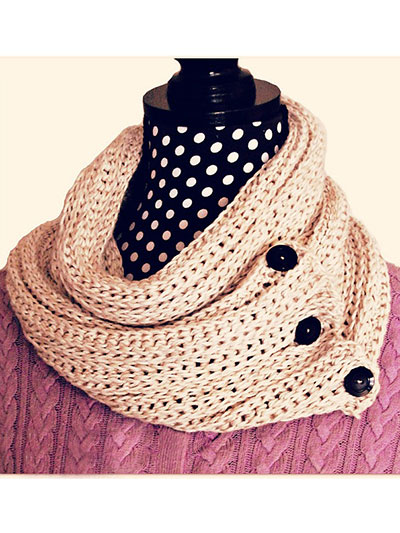 Knit-Look Crocheted Cowl Scarf