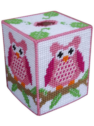 Pink Owl on a Branch Tissue Box Cover