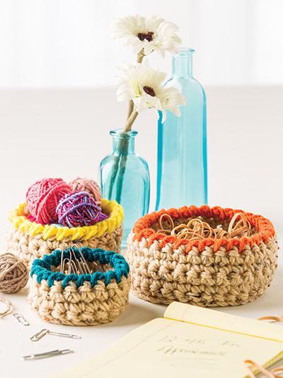 Crochet Pattern Central Baskets : Crochet - Mini Basket Trio - #EC01181