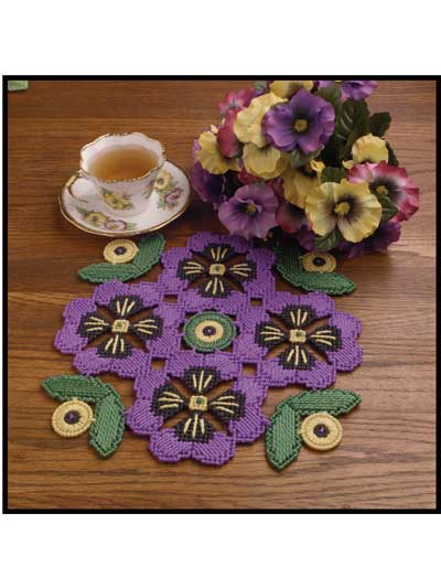 Purple Pansy Doily