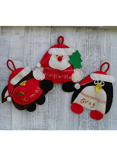 Santa, Robin & Penguin Ornaments